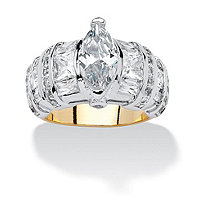 4.09 TCW Marquise-Cut and Multi-Cut Cubic Zirconia 14k Gold-Plated Ring