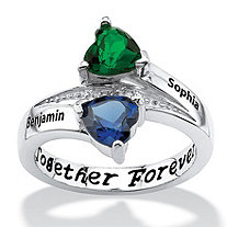 Sterling Silver Couple's Birthstone Heart Name Ring with Diamond Accent