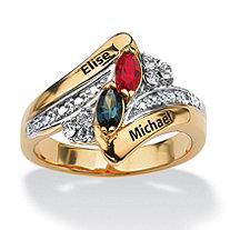 Marquise-Cut Simulated Birthstone 18k Gold over Sterling Silver Personalized Couple's Ring
