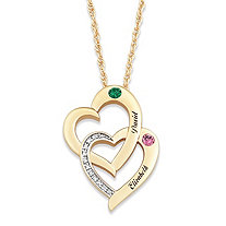 Round Simulated Birthstone 14k Gold-Plated Personalized Interlocking Hearts Couple's Pendant