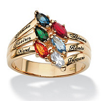 Marquise-Cut Simulated Birthstone 18k Gold over Sterling Silver Personalized Family Ring