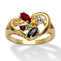 Marquise-Cut Simulated Birthstone 14k Yellow Gold-Plated Heart-Shaped Personalized Family Ring