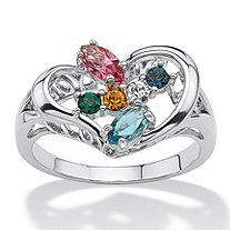 Marquise-Cut Simulated Birthstone Silvertone Heart-Shaped Personalized Family Ring