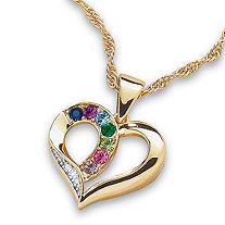 Round Simulated Birthstone 14k Yellow Gold-Plated Heart-Shaped Personalized Family Pendant