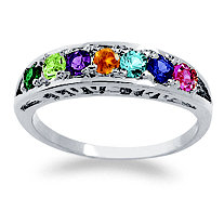"Sterling Silver Round Birthstone ""I Love You"" Family Ring"