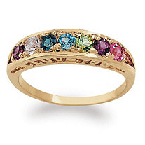 Round Birthstone I Love You Ring in 18k Gold over Sterling Silver