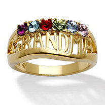 "Round Simulated Birthstone 14k Yellow Gold-Plated Personalized ""Grandma"" Family Ring"