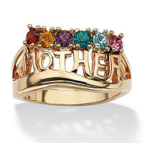 "Round Simulated Birthstone 14k Gold-Plated Personalized ""Mother"" Family Ring"