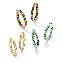 3 Piece Set of Crystal and Cubic Zirconia Inside Out Hoop Earrings in 14k Gold-Plate and Silvertone