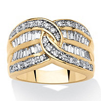 .63 TCW Baguette and Round Cubic Zirconia 14k Yellow Gold-Plated Anniversary Channel Ring