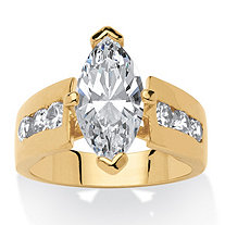 3.02 TCW Marquise-Cut Cubic Zirconia 14k Yellow Gold-Plated Ring