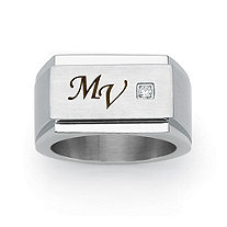 Men's Round Cubic Zirconia Stainless Steel Personalized I.D. Block Initial Ring