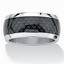 Men's Black ION-Plated Stainless Steel Checkerboard Motif Wedding Band Ring