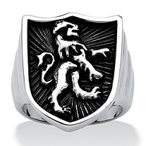 Men's Stainless Steel Antique-Finish Coat of Arms Lion Shield Ring