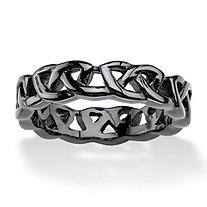 Men's Black ION-Plated Stainless Steel Barbed Wire-Style Wedding Band