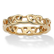 Link-Style Wedding Band in Gold Ion-Plated Stainless Steel