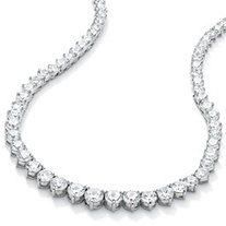 26.23 TCW Round Cubic Zirconia Silvertone Eternity Necklace 16