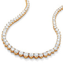 26.23 TCW Round Cubic Zirconia 14k Gold-Plated Eternity Necklace 16""