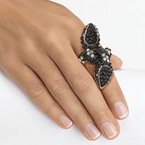 Black and White Crystal Bypass Stretch Ring in Silvertone