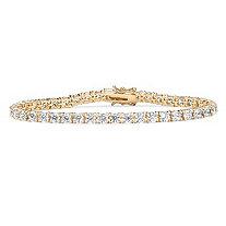 10.75 TCW Round Cubic Zirconia 14k Gold-Plated Tennis Bracelet 7 1/2
