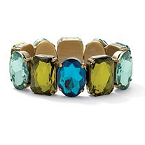 Emerald-Cut Aqua and Green Crystal Bracelet in Antiqued Yellow Gold Tone 7""