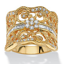 1.21 TCW Round Cubic Zirconia 14k Yellow Gold-Plated Curled Concave Ring