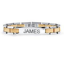 Men's Yellow Gold ION-Plated Stainless Steel Two-Tone Bar-Link Personalized I.D. Bracelet 8 1/4""