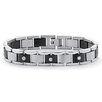 Men's Round Crystal Accent Black ION Plated Stainless Steel Bar-Link Bracelet 8 1/4