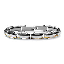 Men's Tutone Stainless Steel Elongated Bolt-Link Bracelet