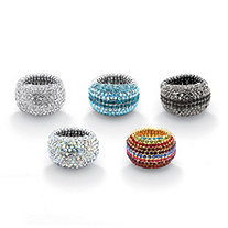 Crystal Black Rhodium-Plated, Yellow Gold Tone, and Silvertone Set of 5 Multi-Color Stretch Rings
