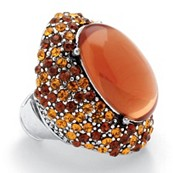 Oval Cut Amber-Color Crystal Silvertone Metal Stretch Ring