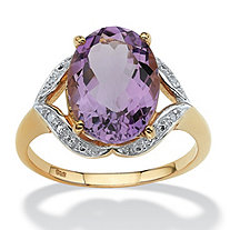 5.20-Carat Oval-Cut Genuine Amethyst with Diamond Accents 18k Yellow Gold Over Sterling Silver Ring