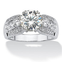 3.66 TCW Round Cubic Zirconia Platinum over Sterling Silver Ring