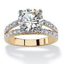 4.42 TCW Round Cubic Zirconia 14k Yellow Gold-Plated Engagement Anniversary Split-Shank Ring