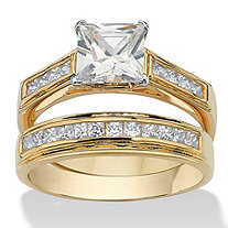2.92 TCW Princess-Cut Cubic Zirconia 14k Yellow Gold-Plated Bridal Engagement Ring Wedding Band Set
