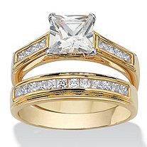 2.92 TCW Princess-Cut Cubic Zirconia 14k Yellow Gold-Plated Bridal Engagement Ring Wedding Band Set