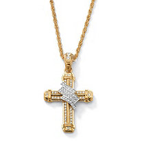 Men's Crystal Wrapped Cross Pendant and Chain in Yellow Gold Tone 24