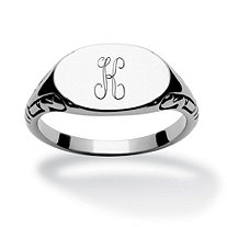 Stainless Steel Personalized I.D. Oval-Shaped Initial Ring