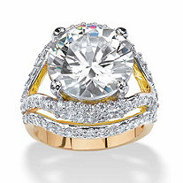 9.88 TCW Round Cubic Zirconia 14k Gold-Plated Engagement Anniversary Double Split-Shank Ring