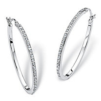 Diamond Accent Platinum over Sterling Silver Oval-Shaped Diamond Fascination Hoop Earrings