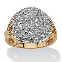 1/7 TCW Round Diamond Pave 18k Yellow Gold over Sterling Silver Split-Shank Ring
