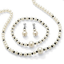 2.25 TCW Genuine Sapphire and Cultured Freshwater Pearl Necklace, Bracelet and Earrings Set