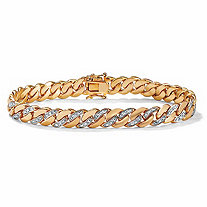 Men's Diamond Accent 14k Yellow Gold-Plated Curb-Link Bracelet 8 1/2""