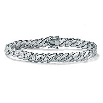 Men's Diamond Accented Curb-Link Bracelet Platinum-Plated 8 1/2""