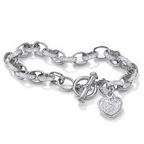 Round Diamond Platinum Plated Heart Charm Bracelet 7 1/4""
