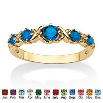 Round Birthstone 14k Gold-Plated