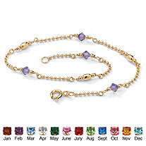 Simulated Birthstone 14k Gold over Sterling Silver Beaded Ankle Bracelet 11""