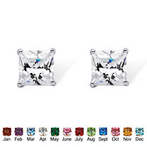 Princess-Cut Simulated Birthstone Sterling Silver Stud Earrings