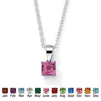 Princess-Cut Simulated Birthstone Sterling Silver Pendant and Chain 18""