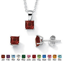 Simulated Birthstone Sterling Silver Pendant, 18